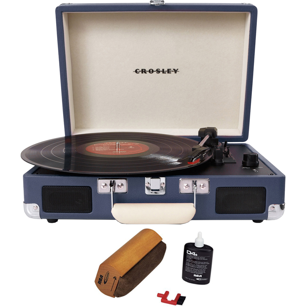 Crosley Cruiser Portable 3-Speed Turntable with Bluetooth Blue (CR8005D-BL) with RCA D4+... by Crosley