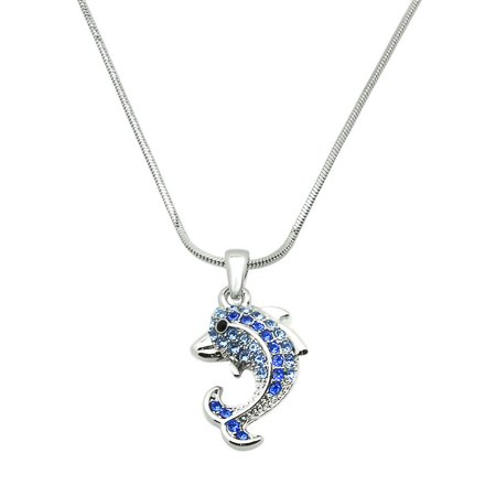 Dolphin Pendant Necklace Rhinestone Crystal Rhodium High Polished