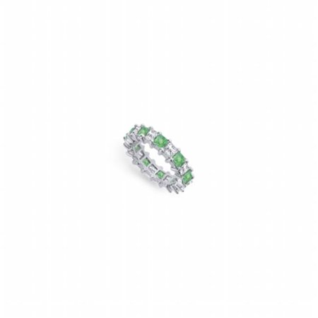 Fine Jewelry Vault UBPTSQ400DE231-101RS7.5 Diamond & Emerald Eternity Band in Platinum 4.00 CT Fourth Wedding Anniversary Ring - Size 7.5