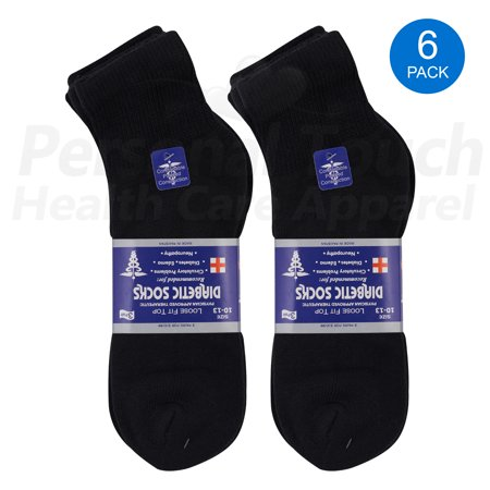 Diabetic Quarter Socks for Men & Women Physicians Approved Socks, 6 Pairs, Size 9-11 (Black)