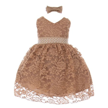 Baby Girls Mocha Rose Lace Overlay Beaded Sleeveless Occasion Dress](Satin Dress With Lace Overlay)