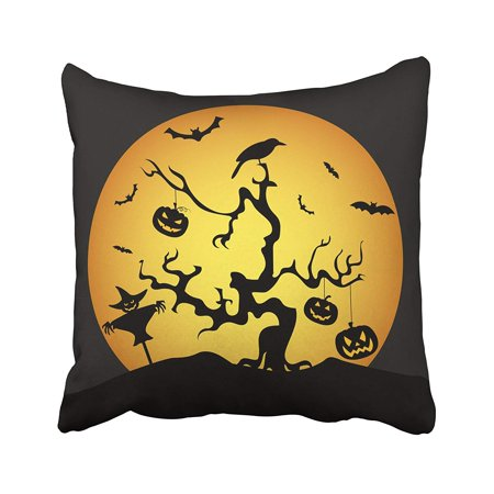 A Bat's Halloween Celebration (BPBOP Autumn Halloween Holiday Graphic Flat Bat Castle Celebration Cemetery Creepy Cross Pillowcase Pillow Cushion Cover 20x20)