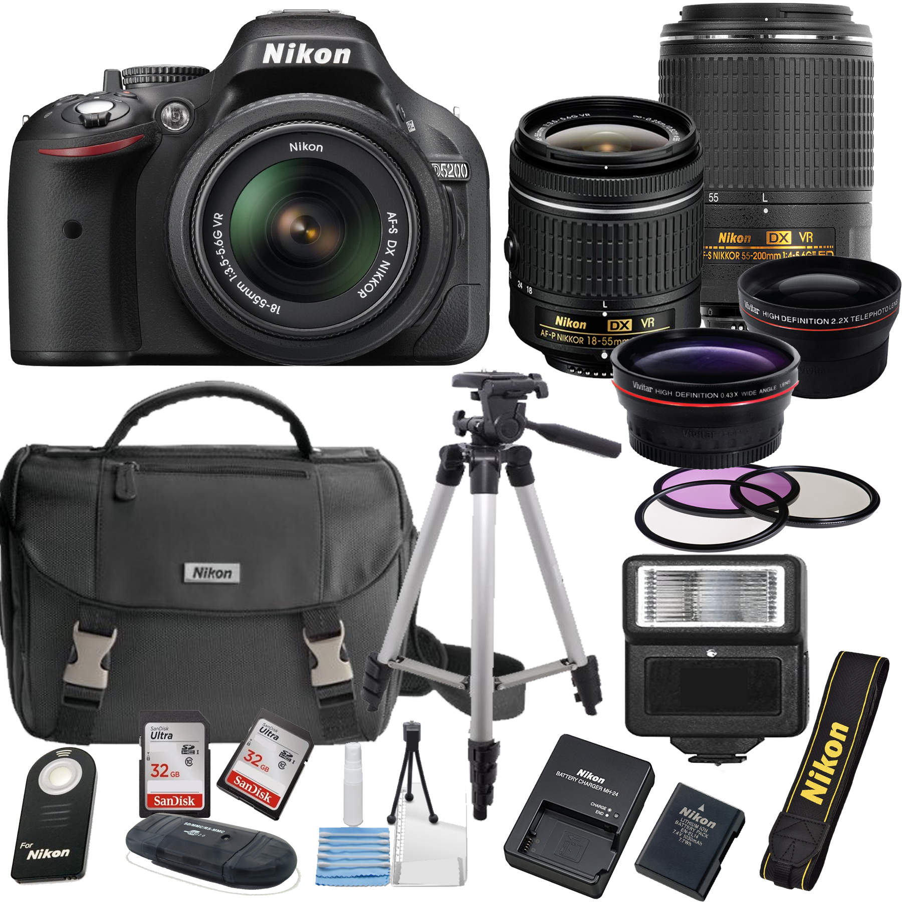 Nikon D5200 24.1 MP DSLR Camera + 18-55mm VR Lens Kit + 5...