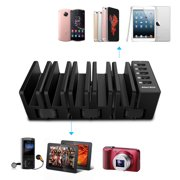 USB Charging Station 5 IN 1 SOWTECH 5 Ports Charging Stand Docking 5V 7A MAX Collapsible Deformable Device Electrical Cord Management Organizer for iPhone iPad Cellphone Tablets Plastic ROHS UL Listed