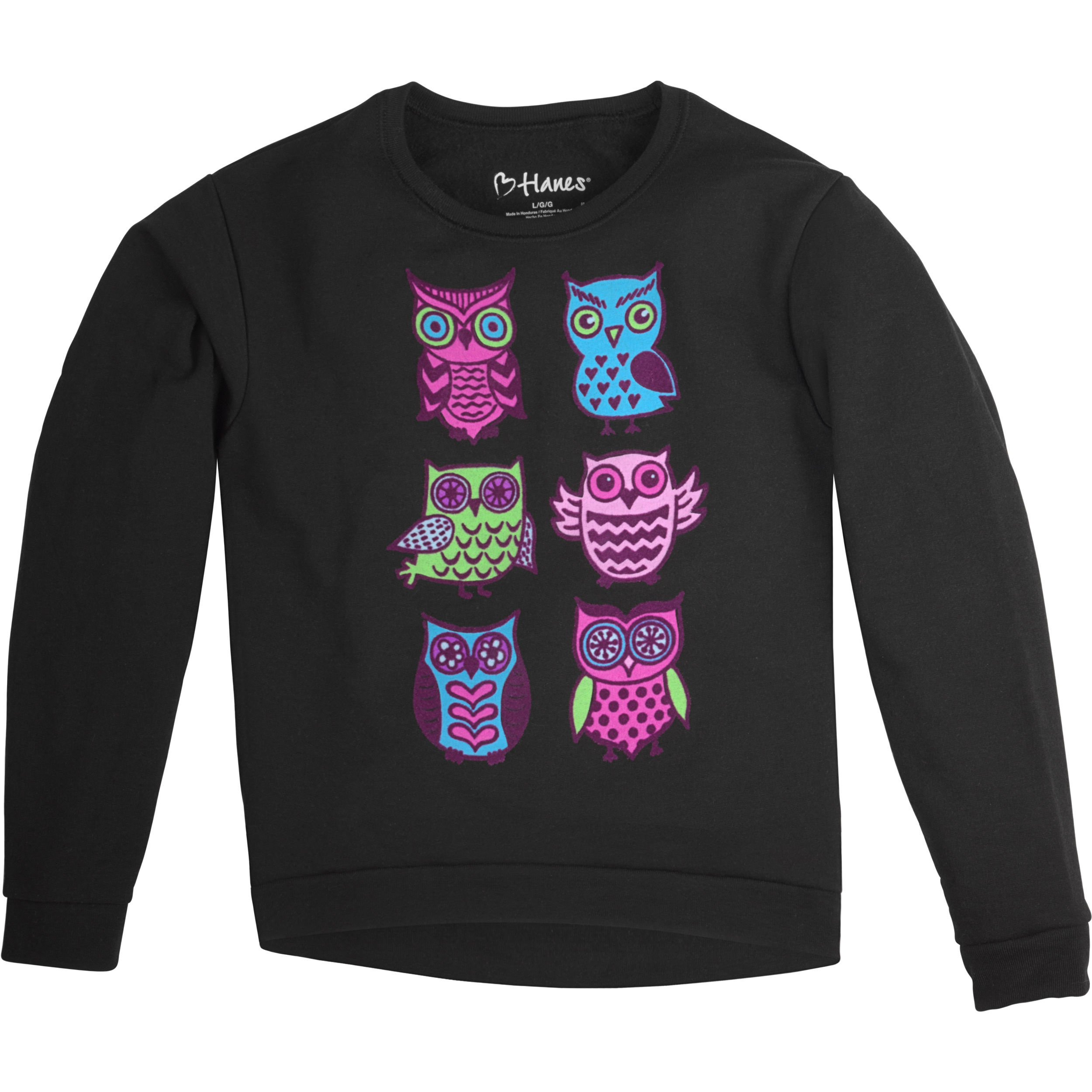 Hanes Girls' Graphic Fleece High/Low Hem Sweatshirt