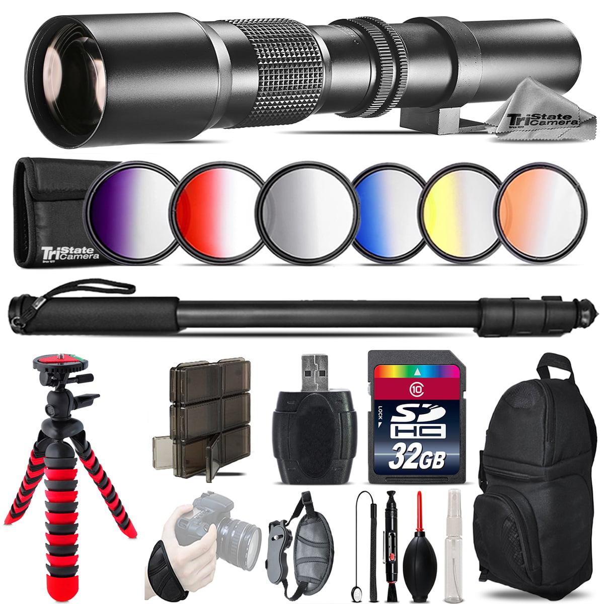500mm Telephoto Lens for Nikon D5600 D7500 + Flexible Tripod & More - 32GB Kit