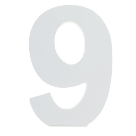 Courier Font White Color Wooden Number 9 (6 Inches)