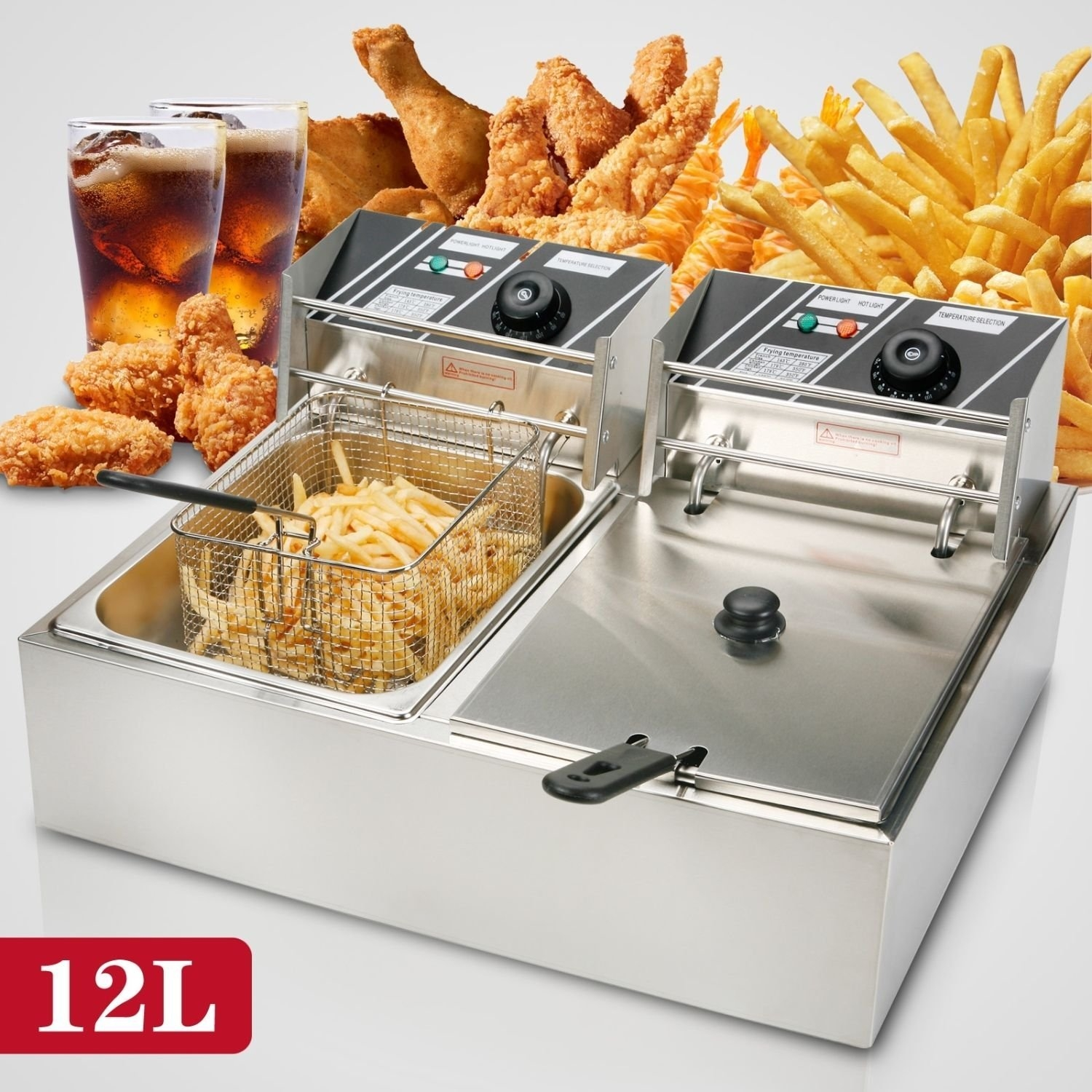New MTN-G 12L Dual Tanks Electric Deep Fryer Commercial T...