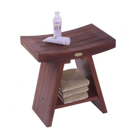 Decoteak Classic Asia Teak Serenity Shower Stool with Shelf