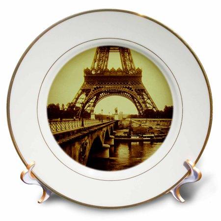Porcelain Vintage Necklace - 3dRose Base of Eiffel Tower Paris France Vintage Magic Lantern Sepia Toned - Porcelain Plate, 8-inch