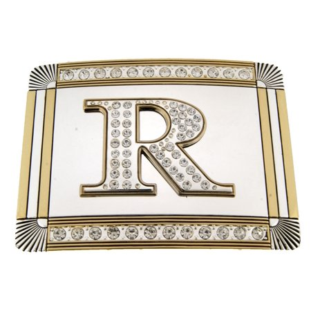 - New Initial R Letter Alphabet Belt Buckle Western Cowboy Rodeo Gold Silver Shiny