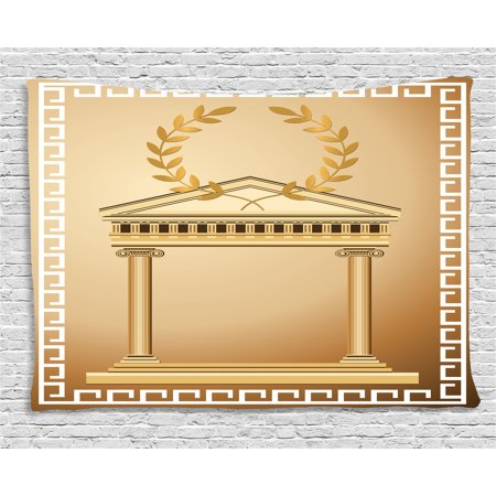 Togas Greek Or Roman (Toga Party Tapestry, Antique Temple with Roman Olive Branch and Greek Architecture Motif, Wall Hanging for Bedroom Living Room Dorm Decor, 60W X 40L Inches, Light Brown and Coffee, by)