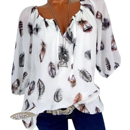 Carmen Tunic Shirt Women Chiffon Feather Printed Tops Blouse Spring/Autumn ()