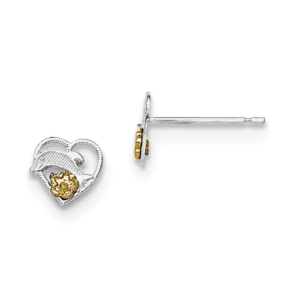 Sterling Silver Dolphin-In-Heart Vermeil Earrings (9MM)