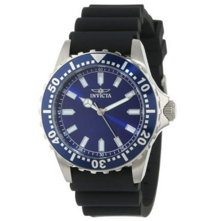 Analogue Dial Watch - Men's Quartz Watch with Blue Dial Analogue Display and Black Silicon