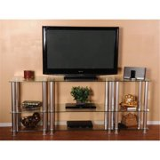 RTA Home and Office TVM-0075 75 inch Extra Tall Glass and Aluminum LCD and Plasma TV Stand
