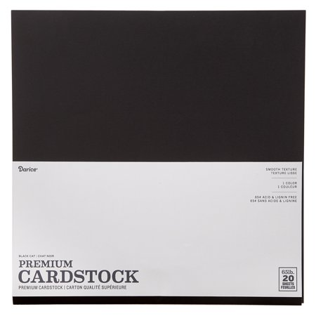 Black Card Stock (Darice Smooth Cardstock, Black Cat, 12 x 12 inches, 20)