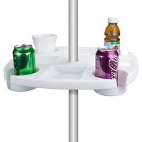 Beach Umbrella Table with 4 Cup Holders, Crazy-convenient table that installs right onto your umbrella pole By Sol Coastal