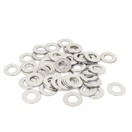 50pcs M6x12mmx0.7mm Stainless Steel Flat Washer Gasket Fastener Ring Silver Tone - image 1 of 1