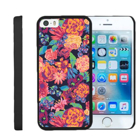 [Apple iPhone SE Case, iPhone 5/5s Shell Case][Snap Shell] Black Slim 2 Piece Snap On Case by Miniturtle® - Floral Dream