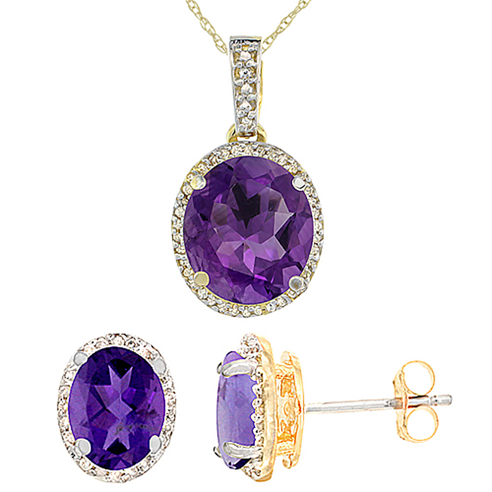 10K Yellow Gold Natural Oval Amethyst Earrings & Pendant Set Diamond Accents by WorldJewels