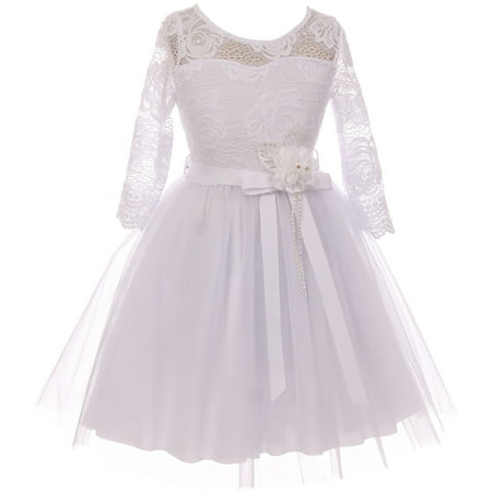 Little Girl Floral Lace Top Tulle Communion Easter Flower Girl Dress USA White 4 JKS 2098 BNY Corner