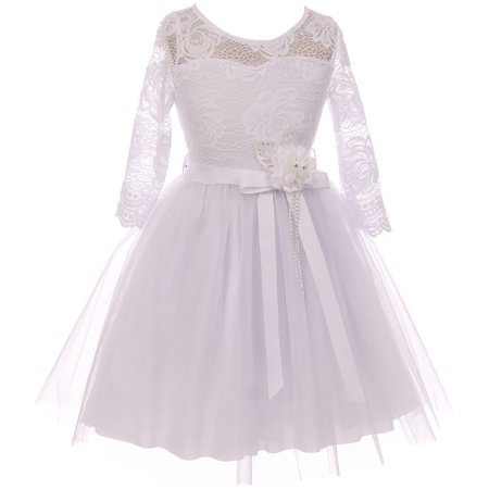 Little Girl Floral Lace Top Tulle Communion Easter Flower Girl Dress USA White 4 JKS 2098 BNY Corner (White Girl Dresses)