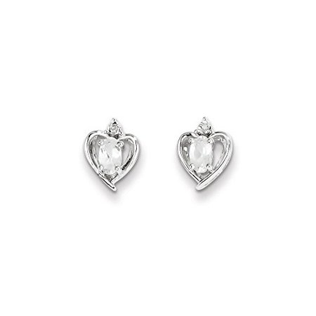 .925 Sterling Silver Genuine Diamond and White Topaz April Birthstone Heart Post Stud Earrings (0.01 CTTW, I-J Color, I2 -