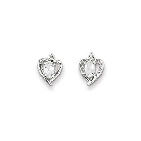 .925 Sterling Silver Genuine Diamond and White Topaz April Birthstone Heart Post Stud Earrings (0.01 CTTW, I-J Color, I2 Clarity)