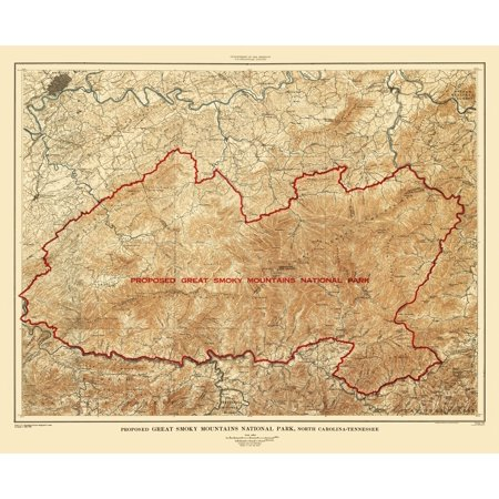 Topographical Map - Great Smoky Mountains Tennessee, North Carolina ...