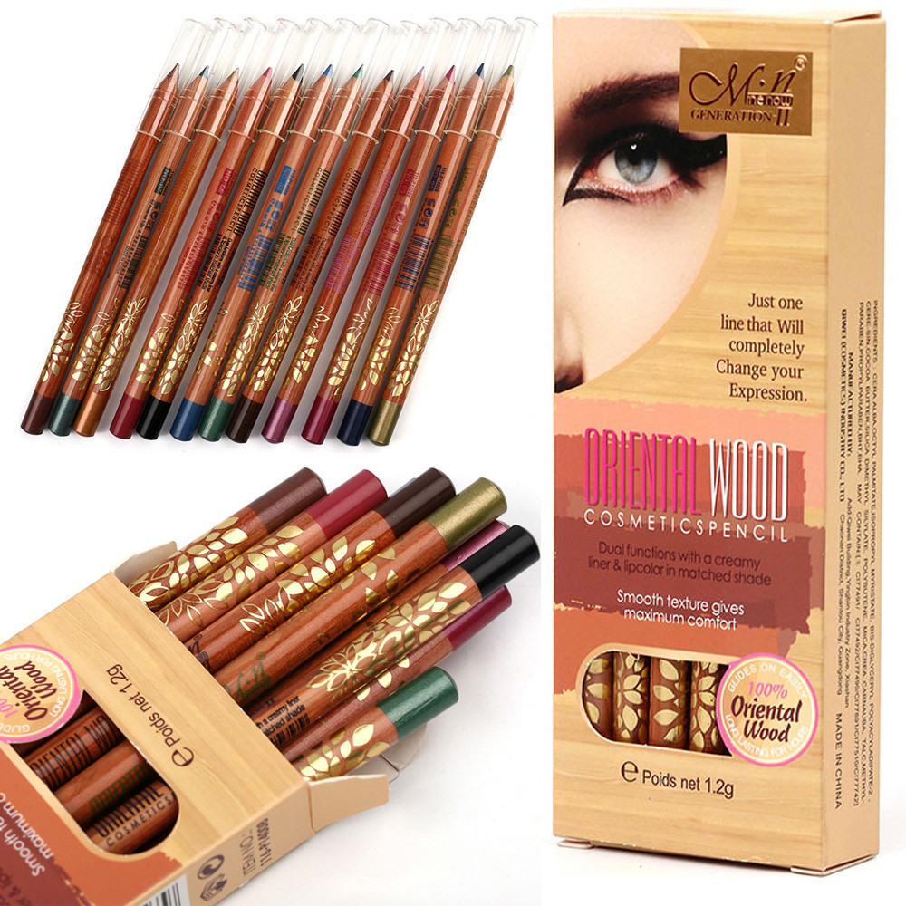 Outtop 12 Colour Beauty Eye Shadow Eyeliner Woodiness Pencil Makeup Cosmetic Set