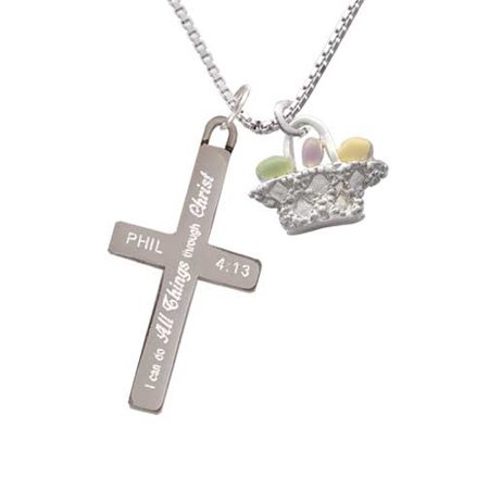 Easter Egg Basket - I Can Do All Things - Cross Necklace ()