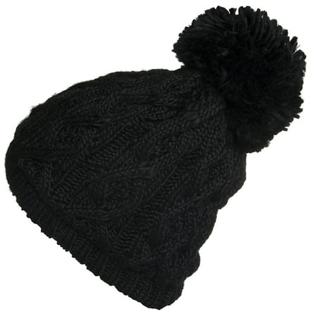 Women's Insulated Thermal Slouchy Beanie Hats With Pom Pom Cable