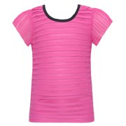 Little Girls Fuchsia Horizontal Pleats Shimmering T-Shirt 4