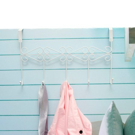 Clothes Hanging Rack Hooks Hat Clothes Coat Towel Bag Over Door Bathroom 5 Hooks Hanger Hanging Rack Holder