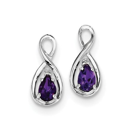 1.25 Ct Amethyst Diamond (Sterling Silver 0.5IN Long Rhodium Plated Diamond & Amethyst Pear Post Earrings )