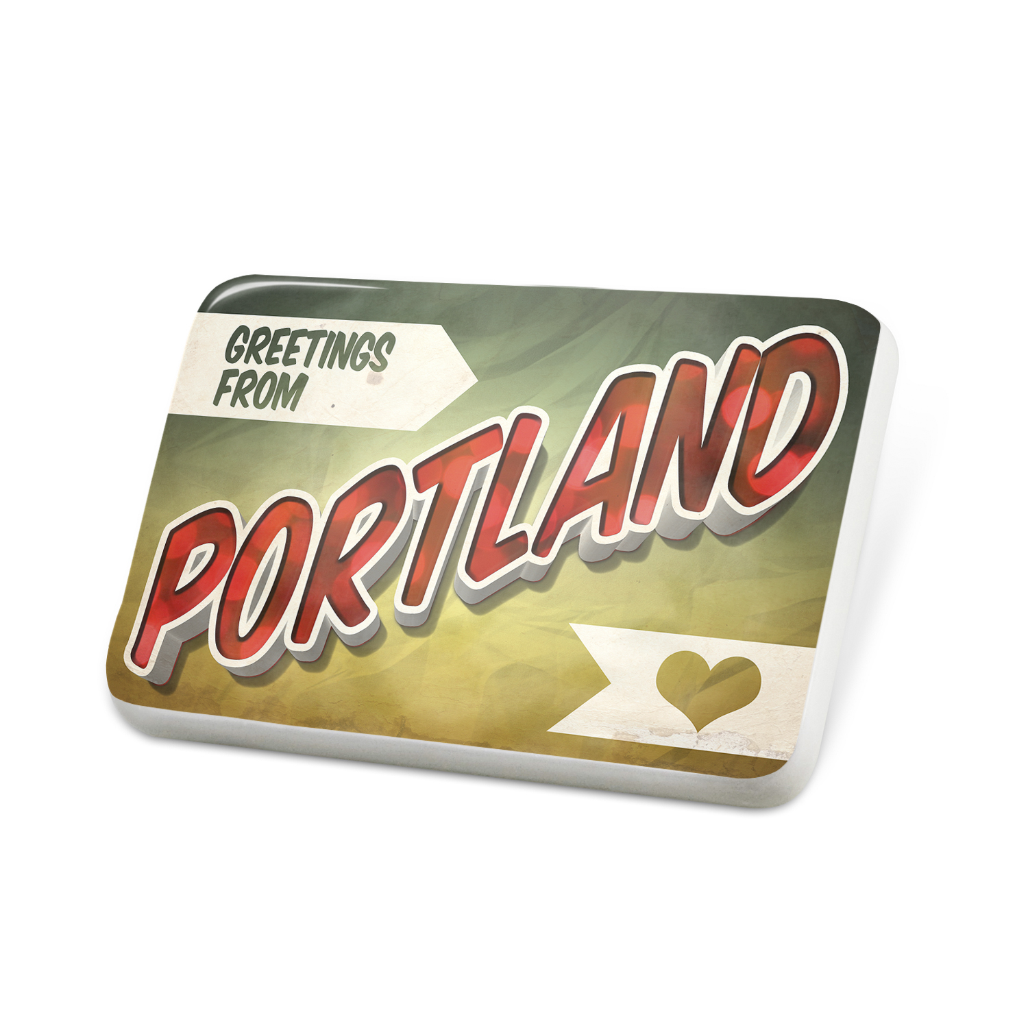 Porcelein Pin Greetings from Portland, Vintage Postcard Lapel Badge – NEONBLOND