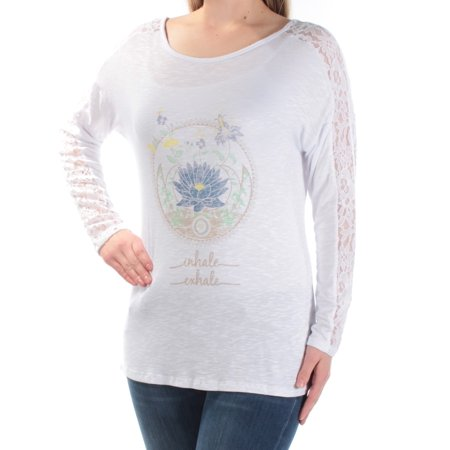 JAMIE & LAYLA Womens White Lace Inhale Exhale Long Sleeve Scoop Neck Top  Size: (Jamie Lace)