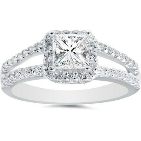 14k Wg Diamond Solitaire - 1 Carat Princess Cut Diamond Halo Engagement Ring Split Shank Solitaire 14k WG