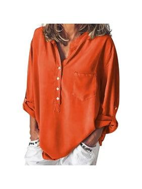 Funcee Women V Neck Loose Long Sleeve Blouse Tops