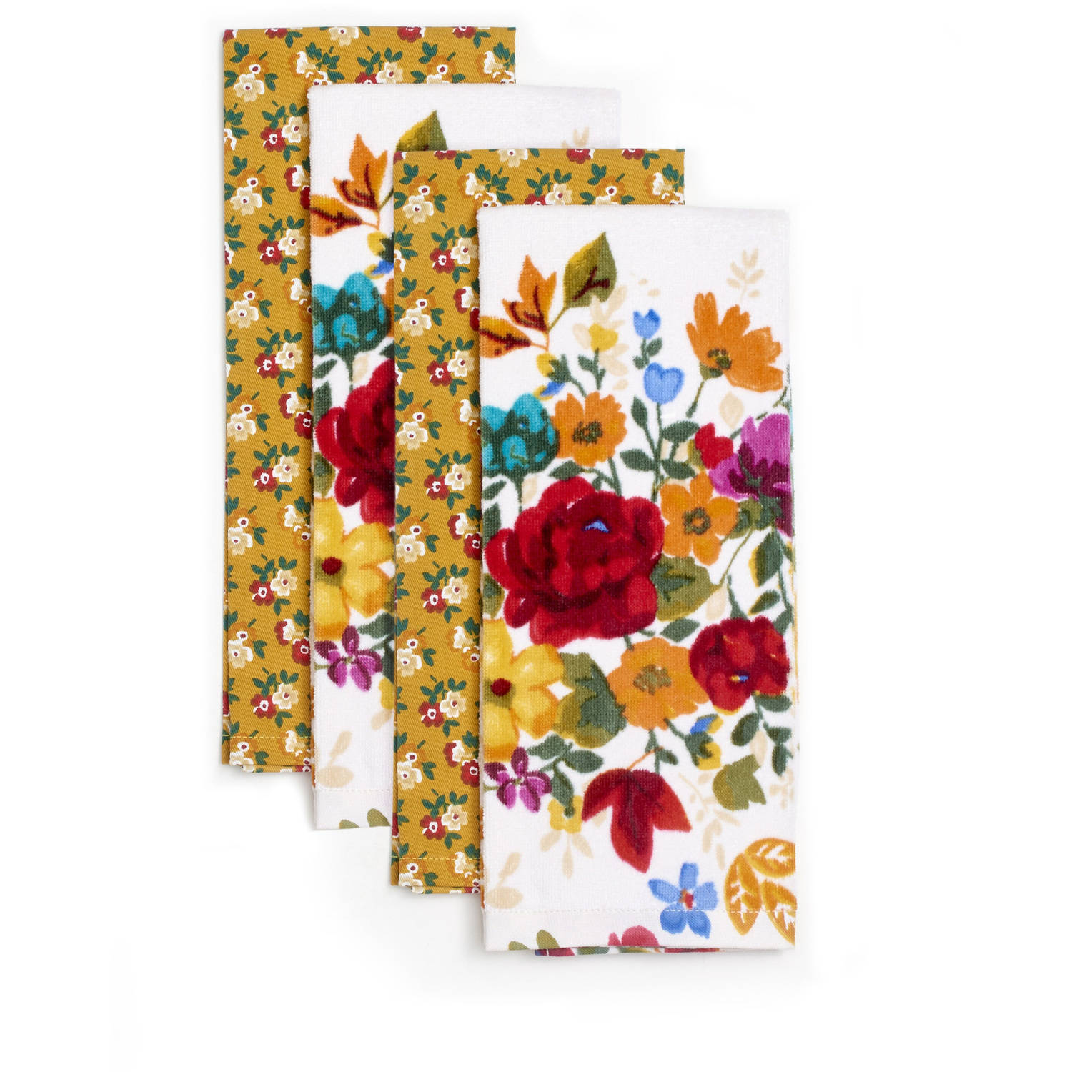 pioneer woman timeless floral kitchen towels, pack of 4 - walmart