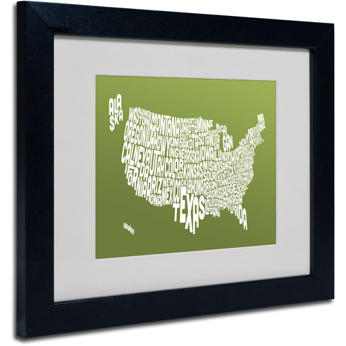 "Trademark Fine Art ""OLIVE-USA States Text Map"" Matted Framed by Michael Tompsett"