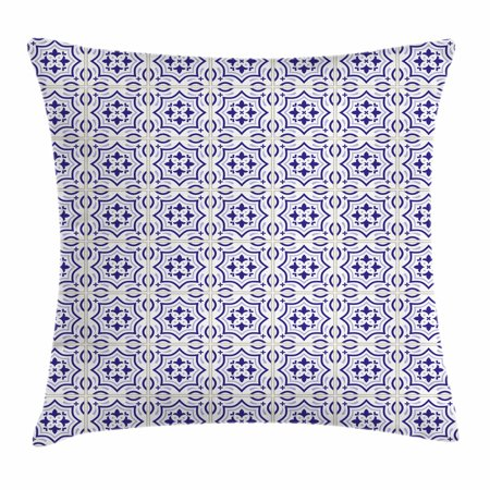 Navy Blue Throw Pillow Cushion Cover, Portuguese Tile Design Traditional Azulejo Retro Style Mosaic, Decorative Square Accent Pillow Case, 24 X 24 Inches, Violet Blue Blue Grey Eggshell, by Ambesonne - Eggshell Mosaic Box