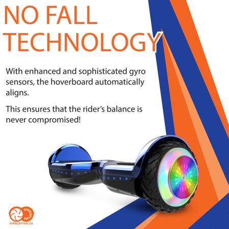 Gyrocopters PRO 6.0 Off-Road Hoverboard - UL 2272, Bluetooth, LED wheels, APP, No Fall Technology, Front and Back lights, Bag (Chrome Blue) - image 1 of 9