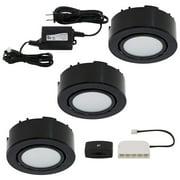 liteline ucp-led3-bk mercury free puck light kit with 24 w in-line led driver, 2 w, 12 vdc, 3 light,