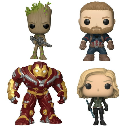 Funko POP! Marvel Avengers Infinity War Collectors Set 2 - Groot w/Blaster, Captain America, Black Widow & 6