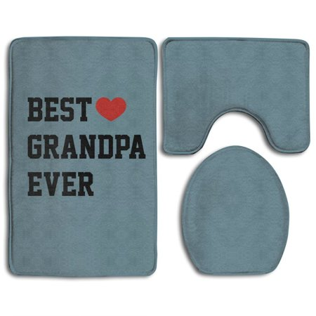 CHAPLLE Funny Best Grandpa Ever 3 Piece Bathroom Rugs Set Bath Rug Contour Mat and Toilet Lid