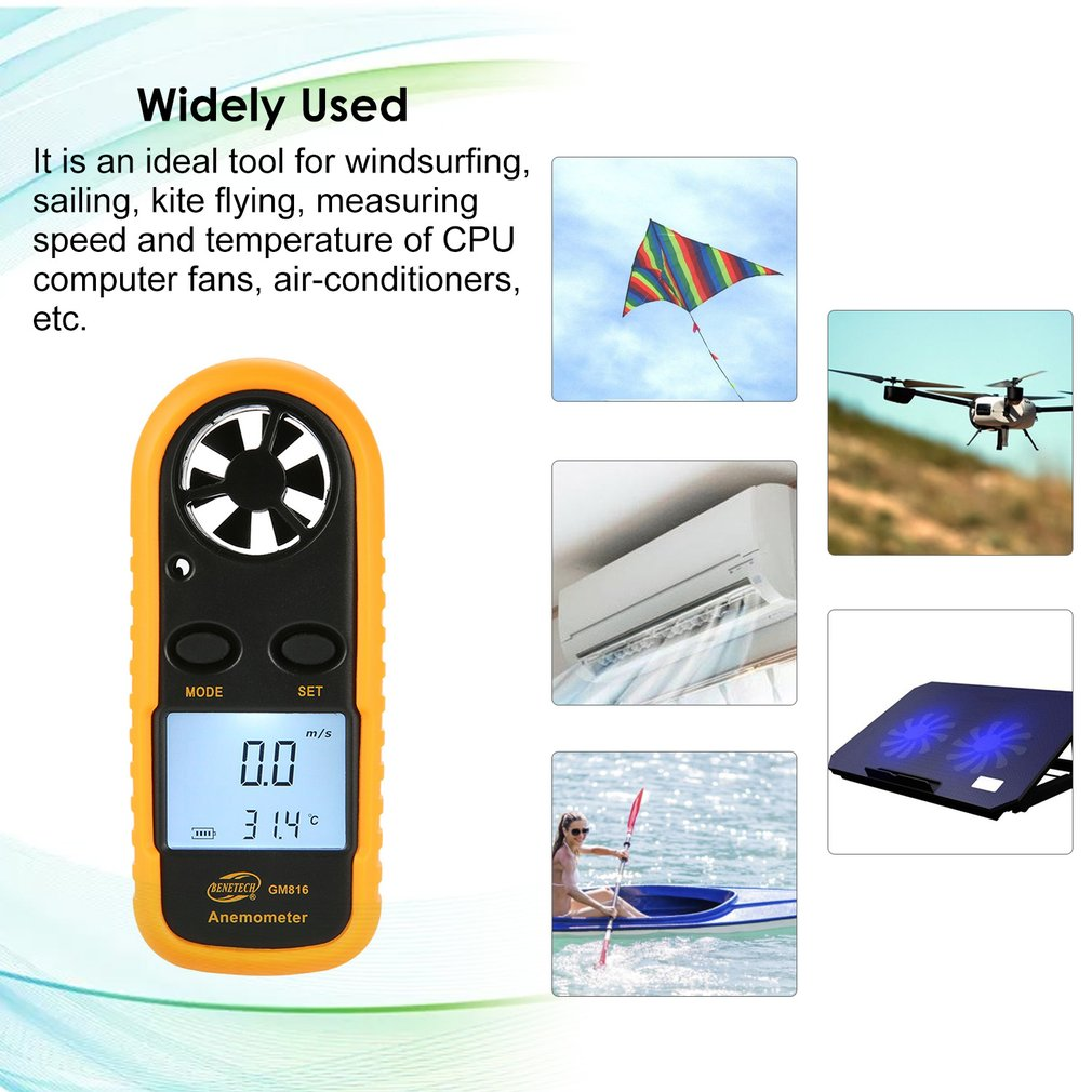 ON SALE HOT BENETECH GM816 Digital Anemometer Thermometer Wind Speed Meter Airflow Gauge