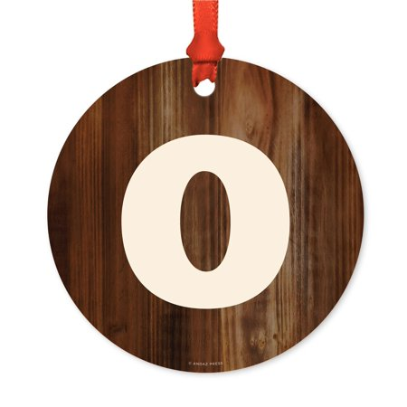 Metal Christmas Ornament, Monogram Letter O, Rustic Wood, Includes Ribbon and Gift Bag ()