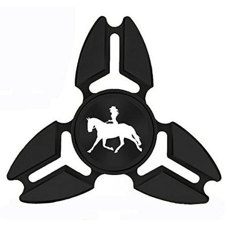 Fidget Spinner Tri-Spinner Black Aluminum Metal Cowgirl Riding Horse